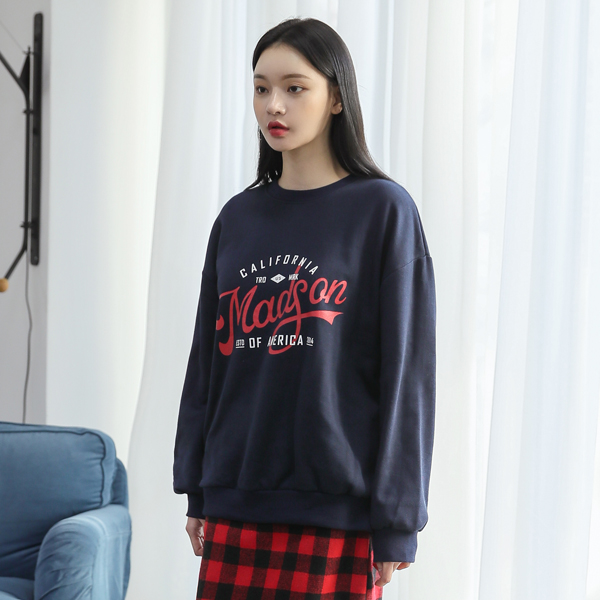 (T-4565) loose fit logo napping Tee
