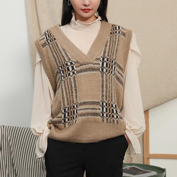 (VT-0091) Mohair Check Knit Vest