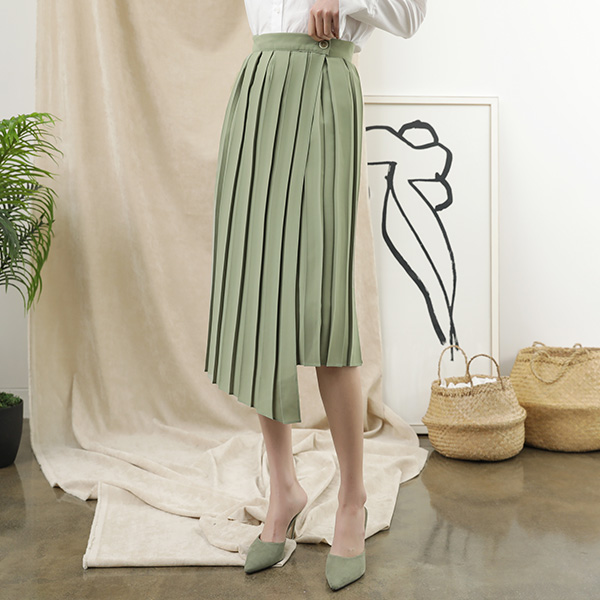 (SK-3348) unbalance Pleats Lap Skirt