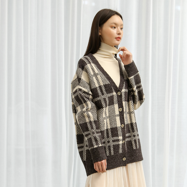 (CD-1279) Check Oversize Knit Cardigan