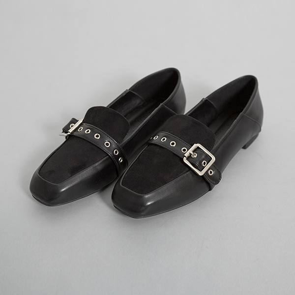 (SH-2593) Suede Buckle Loafers
