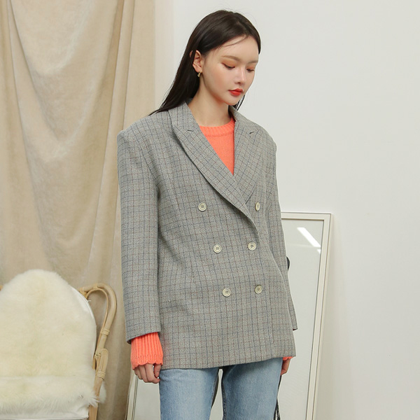 (JK-1988) double button line Check Jacket