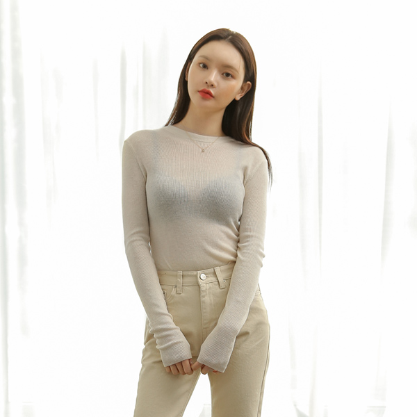 (T-4600) Natural See-through look Corrugated Knit