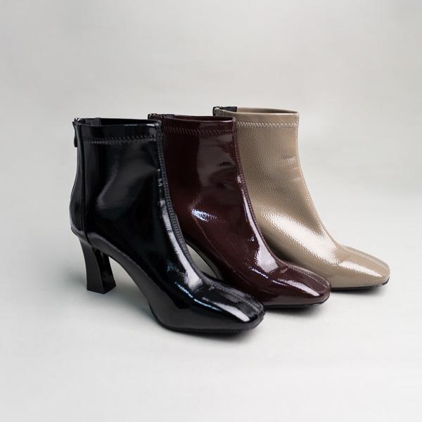 (SH-2474) Square Toe Enamel Boots