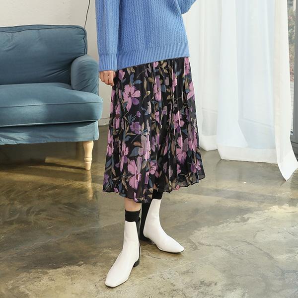 (SK-3324) Chiffon Flower Banding Skirt