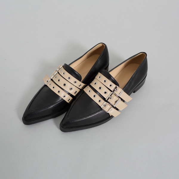 (SH-2578) Buckle Stiletto Loafers