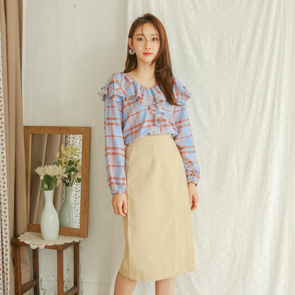 (SK-3278) Button Pointed Banding Wrap Skirt
