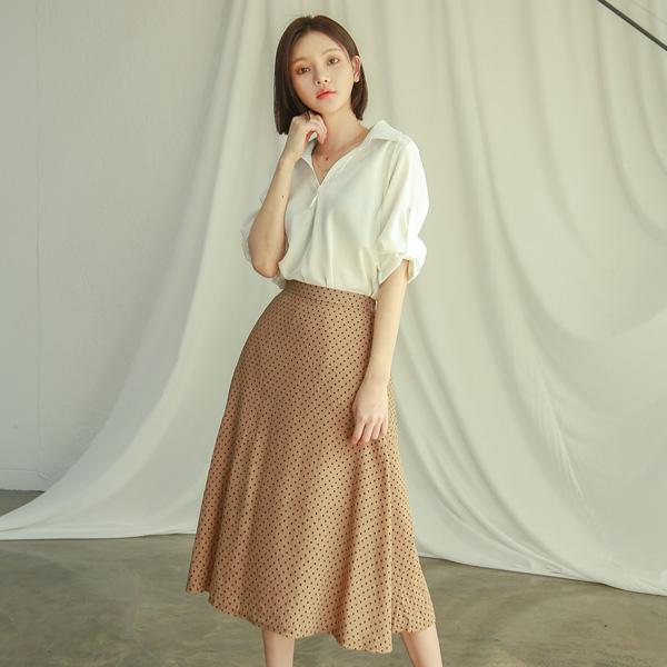 (SK-3308) Mini Dot Flare Skirt