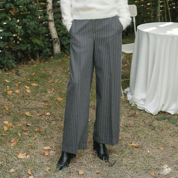 (PT-3421) Stripe Semi-Wide Pants