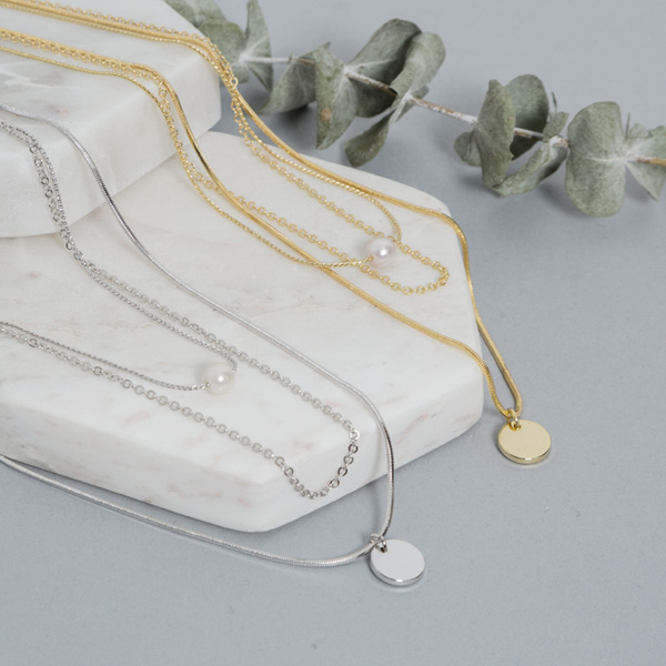 (N-745) layered pearl Necklace