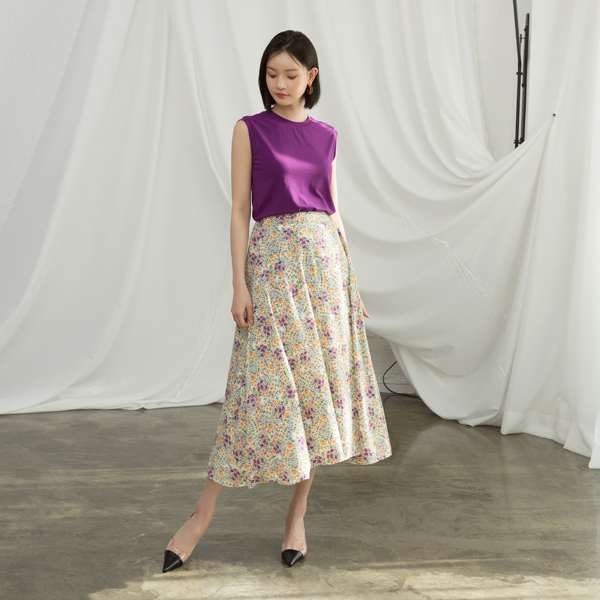 (SK-3369) Vintage Flower Patterns Banding Skirt