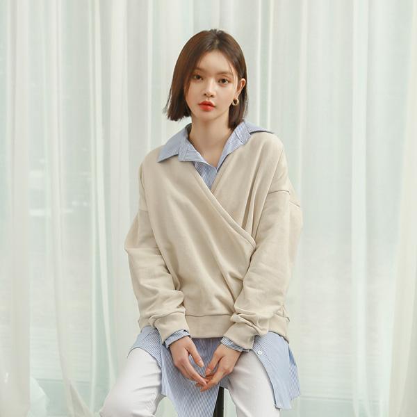 (BL-3232) Stripe two-way Shirt Blouse