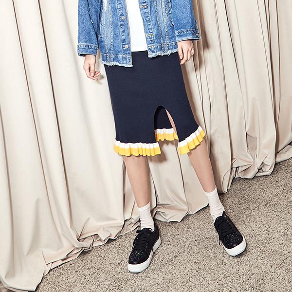 (SK-2782) H Pitch Ruffle Knit Skirt