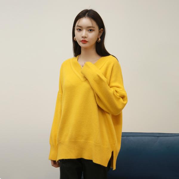 (T-4503) Wool Soft V-neck Knit