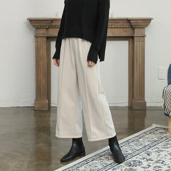(PT-3632) napping Suede Wide Banding Pants