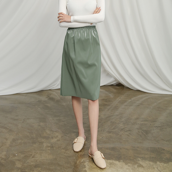 (SK-3288) Leather quality Banding Skirt