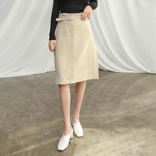 (SK-3286) Belted Solid Midi SkirtS
