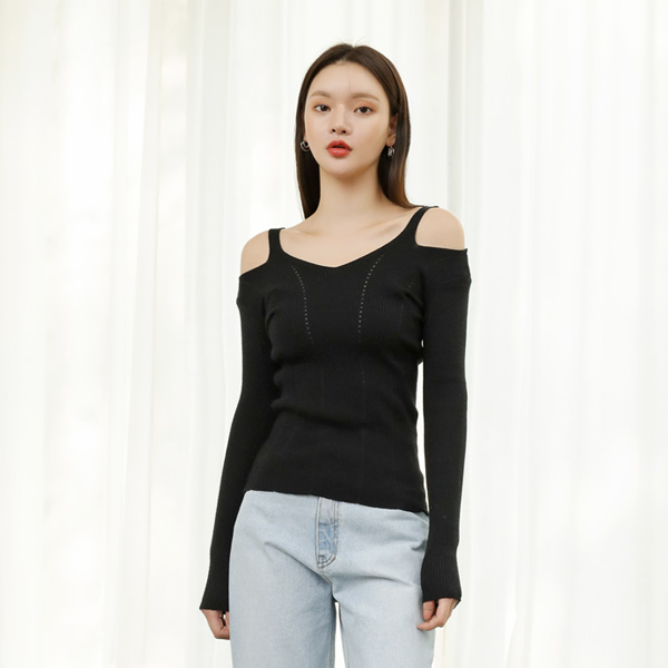(T-4598) Slim Cut Off shoulder Knit