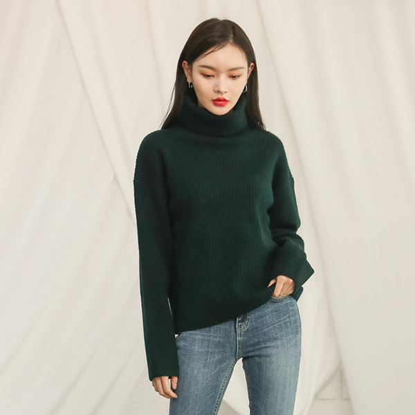 (T-4351) loose fit Soft Turn-up Knit