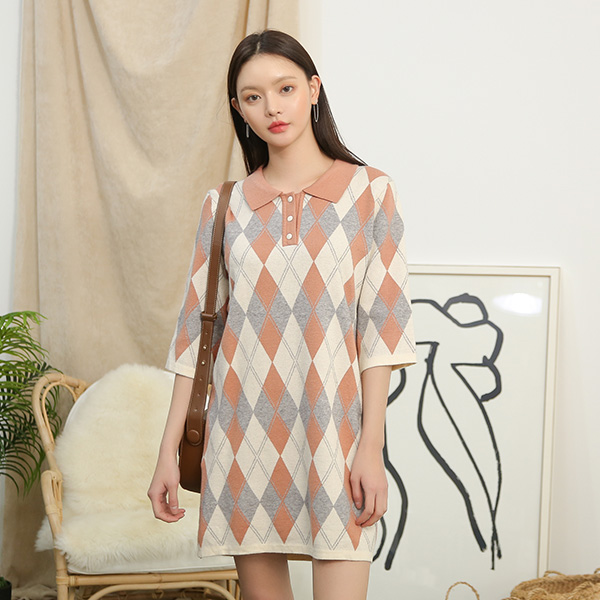 (OP-4259) Argyle Patterns Knit One Piece