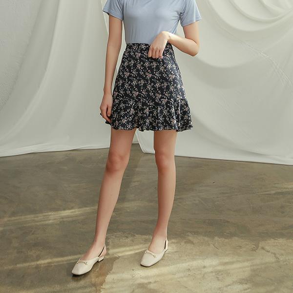 (SK-3353) Floral Ruffle Mini Skirt