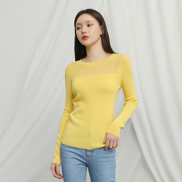 (T-4339) Front See-through look Square Knit