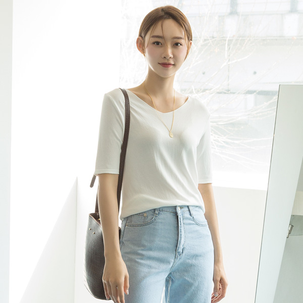 (T-4714) V-necked Solid Knit