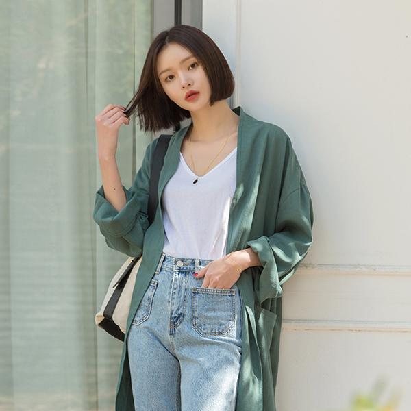 (CT-1202) Linen Vintage Color Lob Coat