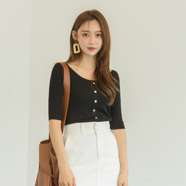 (T-4705) Button Pointed Slim Fit Knit