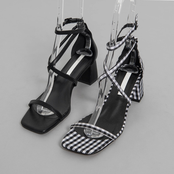 (SH-2709) X Strap Middle heel Sandals