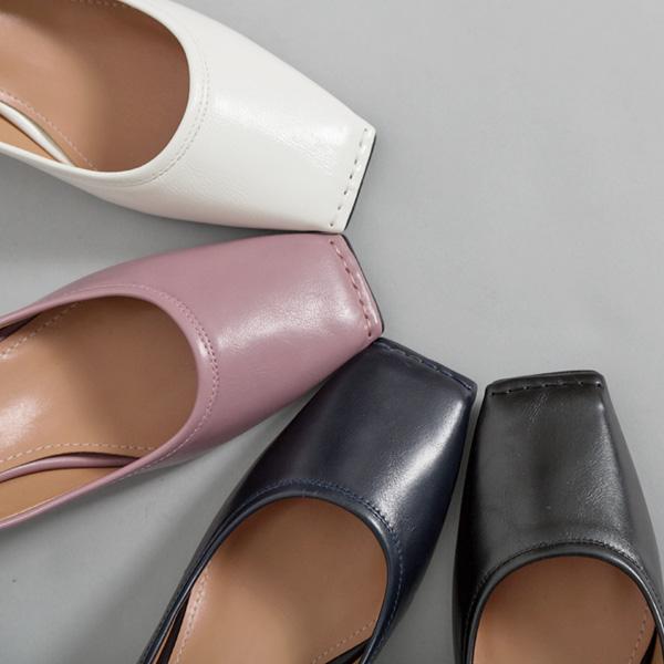(SH-2598) stitch middle heel Pump