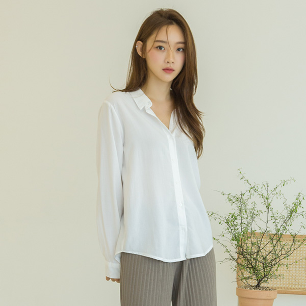 (BL-3296) Soft Color Shirt Blouse