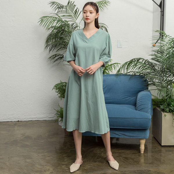 (N-OP-4446) V Neck Puff Sleeve One Piece