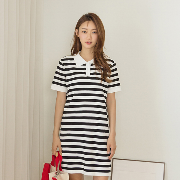 (OP-4377) Stripe Slit Knit One Piece