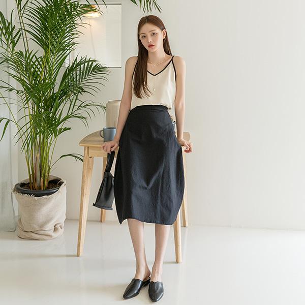 (SK-3494) Linen Solid Flare Skirt