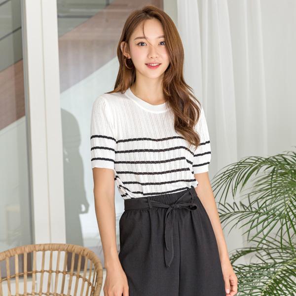 (T-4850) Stripe key point Knit