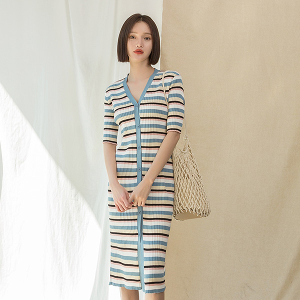 (OP-4359) Stripe button Knit One Piece