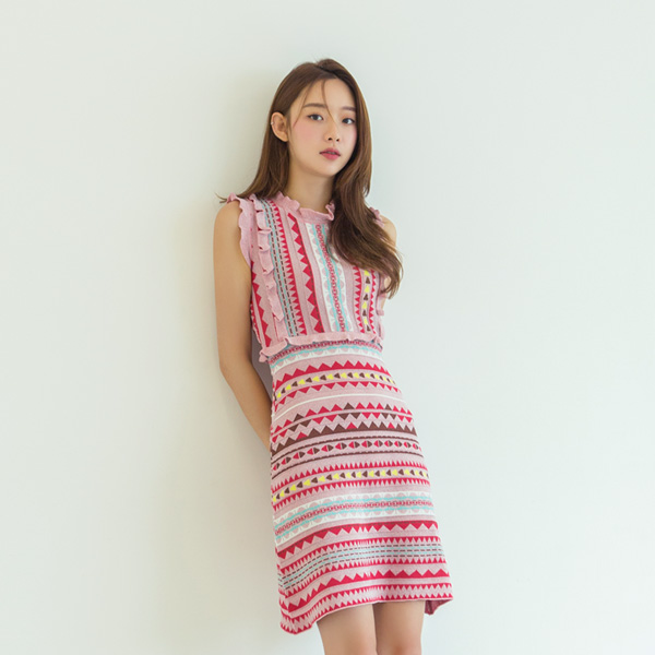 (OP-4374) multi Patterns Ruffle Knit One Piece
