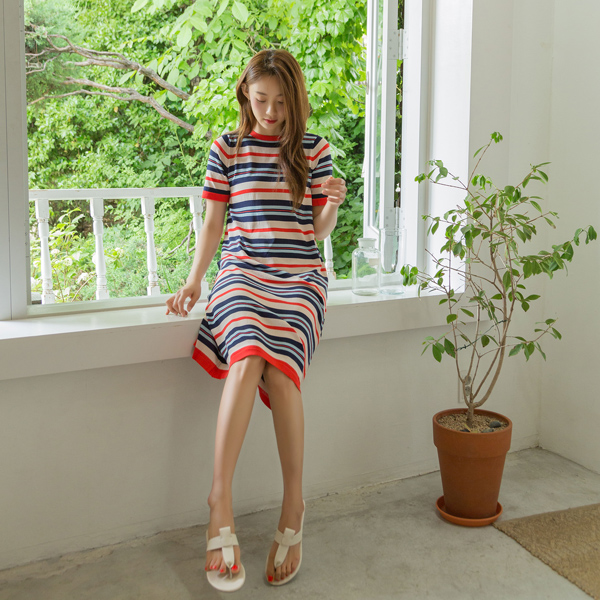 (OP-4555) Color Stripe Knit One Piece