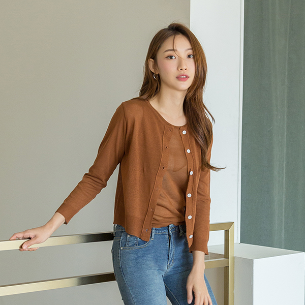 (N-CD-1329) Round Neck Knit Tower Cardigan SetS