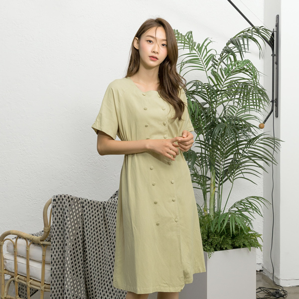 (OP-4452) double Classic Linen One Piece