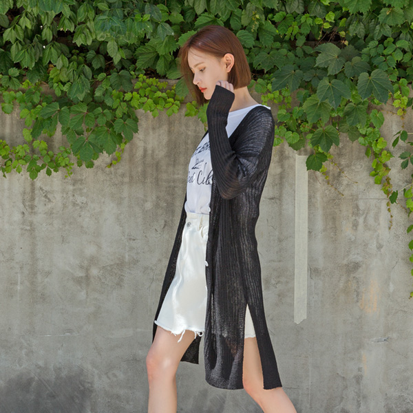 (CD-1322) Cool Touch Long Knit Cardigan