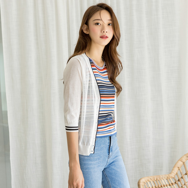 (CD-1332) New line pointed Knit Cardigan