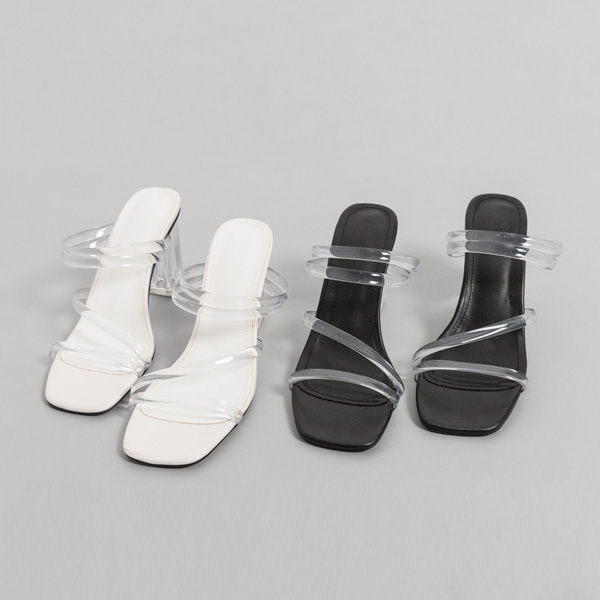 (SH-2712) Acrylic heel mules