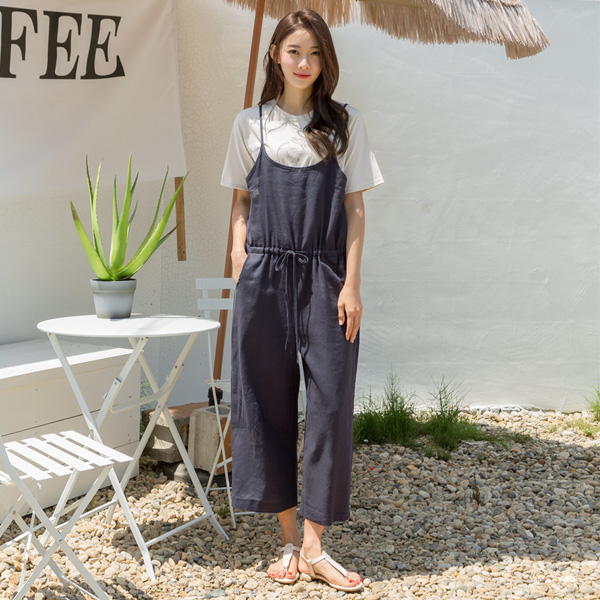 (N-OP-4573) Linen Sleeveless waist shirring jump suit