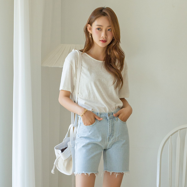 (T-4792) Color Strap Casual Tee