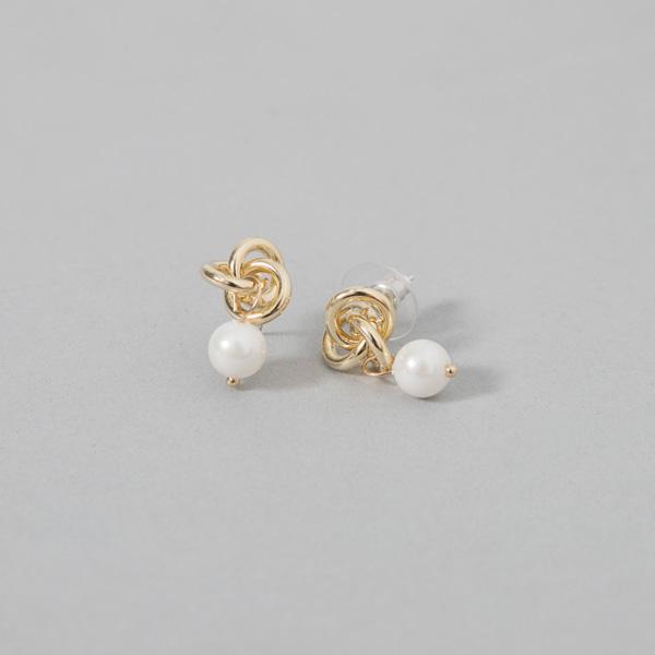 (E-1326) twist metal pearl earring