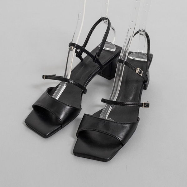(SH-2768) small buckle Middle heel Sandals