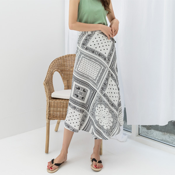 (N-SK-3538) Paisley Wrap Skirt