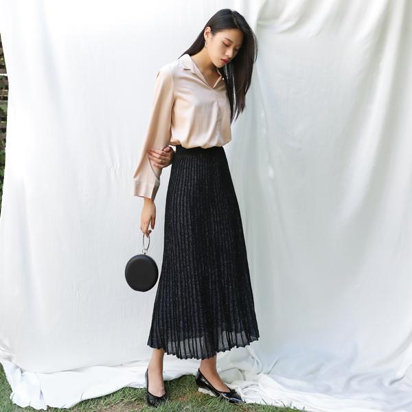 (SK-2984) Metal Pleats Knit Skirt